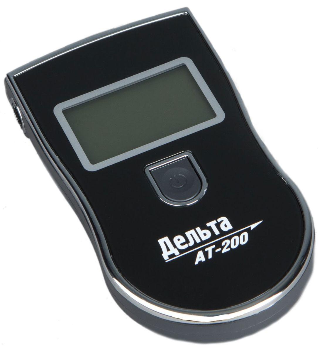 Дельта АТ 200, Black алкотестер2012506202008Персональный алкогольный тестер Дельта АТ-200 предназначен для определения содержания паров алкоголя в выдыхаемом воздухе. Имея небольшие размеры и встроенный отсек для сменных мундштуков (5 шт. в комплекте) он очень компактен и удобен в использовании. Концентрация алкоголя определяется высокотехнологичным полупроводниковым газовым сенсором - анализатором. Результат измерений выводится на удобный и большой жидкокристаллический дисплей. Диапазон: 0.00 - 1.99 промилле Погрешность: ± 10 % Время измерения: 5 с Время прогрева: 20 с Диапазон температур: -10...+ 50 °C Звуковой сигнал Хранение сменных мундштуков в корпусе