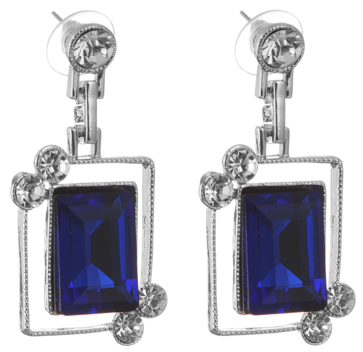 Серьги Taya, цвет: серебристый, темно-синий. T-B-10688-EARR-SL.D.BLUET-B-10688-EARR-SL.D.BLUEОригинальные серьги Taya, выполненные из металлического сплава в виде подвесок квадратной формы декорированных крупными и мелкими стразами, придадут вашему образу изюминку, подчеркнут красоту или преобразят повседневный наряд. Застегиваются на замок-гвоздик с пластиковой заглушкой. Такие серьги позволит вам с легкостью воплотить самую смелую фантазию и создать собственный, неповторимый образ.