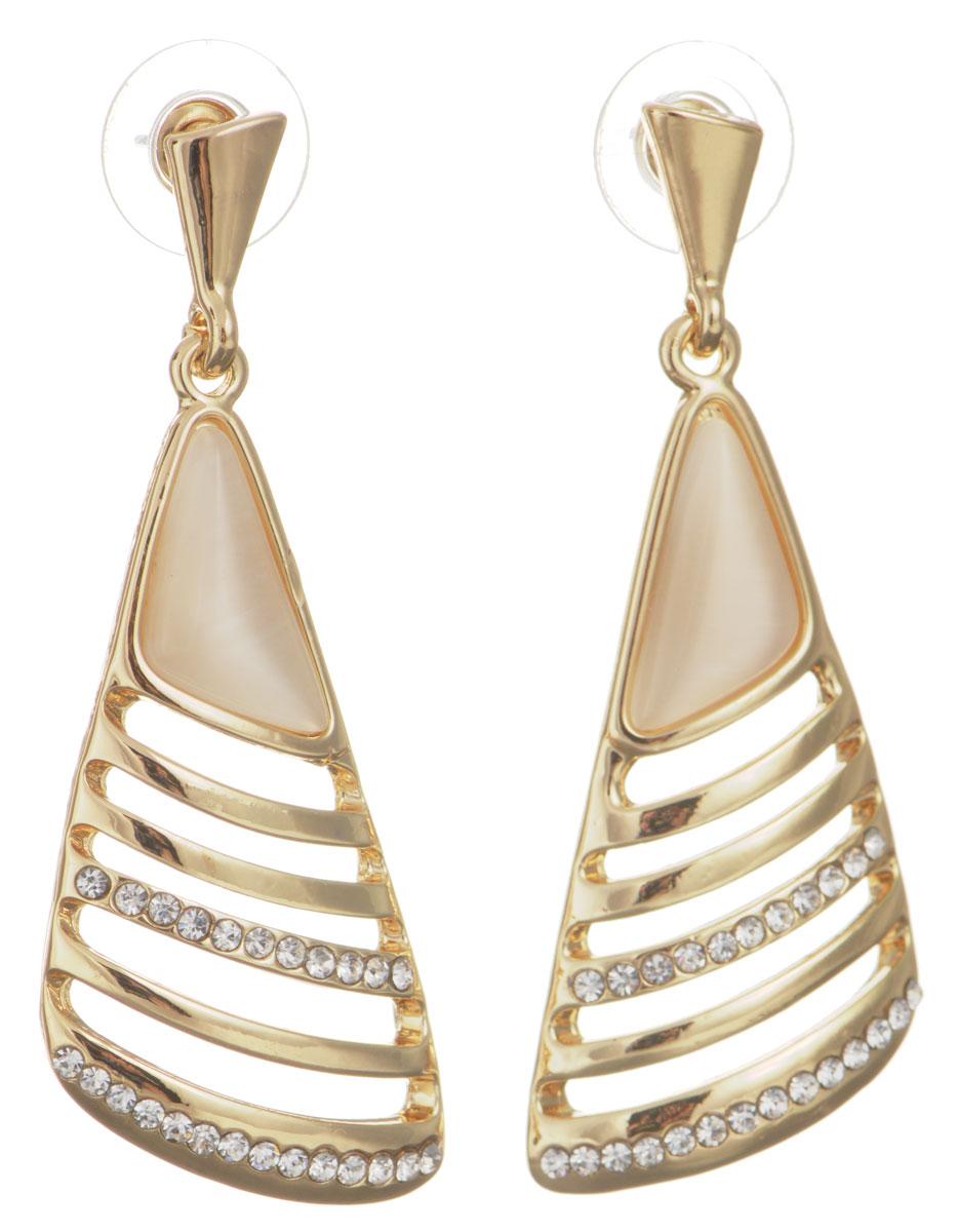 Серьги Taya, цвет: золотистый. T-B-10747-EARR-GOLDT-B-10747-EARR-GOLDОригинальные серьги Taya, выполненные из металлического сплава треугольной формы декорированного непрозрачным искусственным камнем и стразами, придадут вашему образу изюминку, подчеркнут красоту или преобразят повседневный наряд. Застегиваются серьги на замок-омега. Такие серьги позволят вам с легкостью воплотить самую смелую фантазию и создать собственный, неповторимый образ.