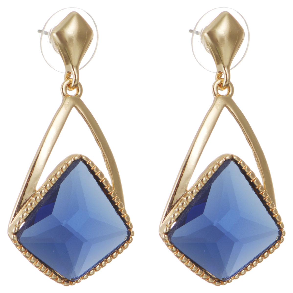 Серьги Taya, цвет: золотистый, синий. T-B-10740-EARR-GL.D.BLUET-B-10740-EARR-GL.D.BLUEОригинальные серьги Taya, выполненные из металлического сплава в виде подвесок в форме капли декорированной крупным кристаллом необычной формы, придадут вашему образу изюминку, подчеркнут красоту или преобразят повседневный наряд. Застегиваются на замок-гвоздик с пластиковой заглушкой. Такие серьги позволят вам с легкостью воплотить самую смелую фантазию и создать собственный, неповторимый образ.