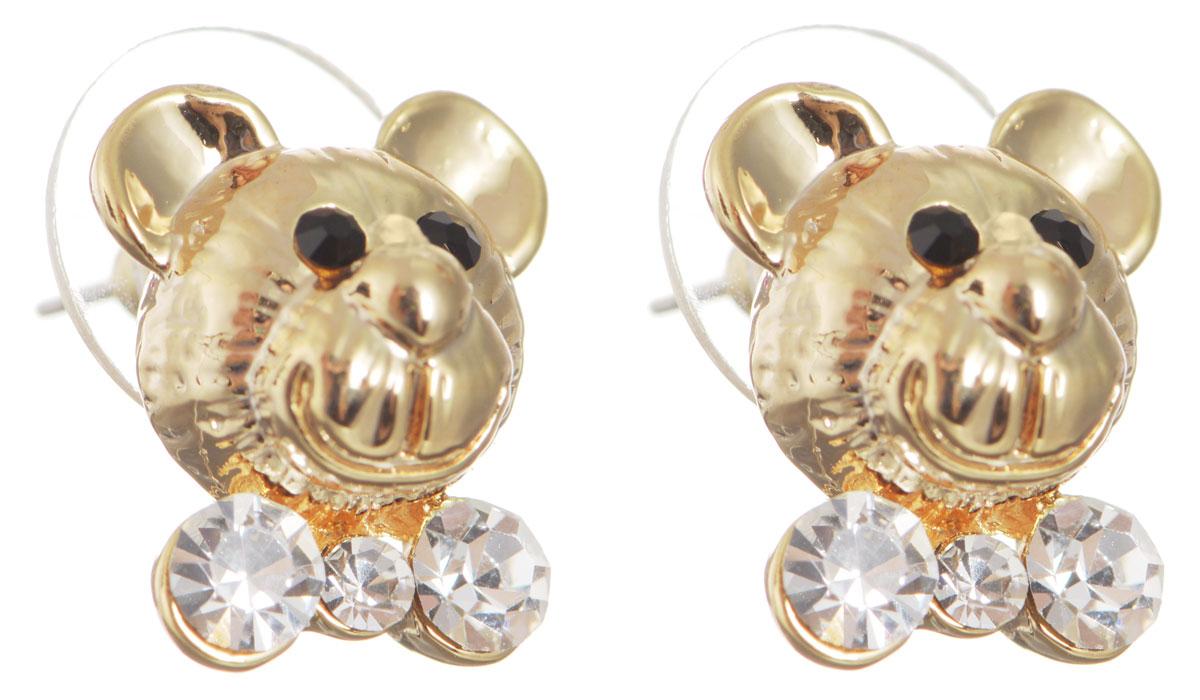 Серьги Taya, цвет: золотистый. T-B-10494T-B-10494-EARR-GOLDОригинальные серьги Taya выполнены из бижутерного сплава в виде мордашек медведей и оформлены стразами. Застегиваются серьги на замок-гвоздик с заглушками. Серьги Taya позволят вам с легкостью воплотить самую смелую фантазию и создать собственный, неповторимый образ.