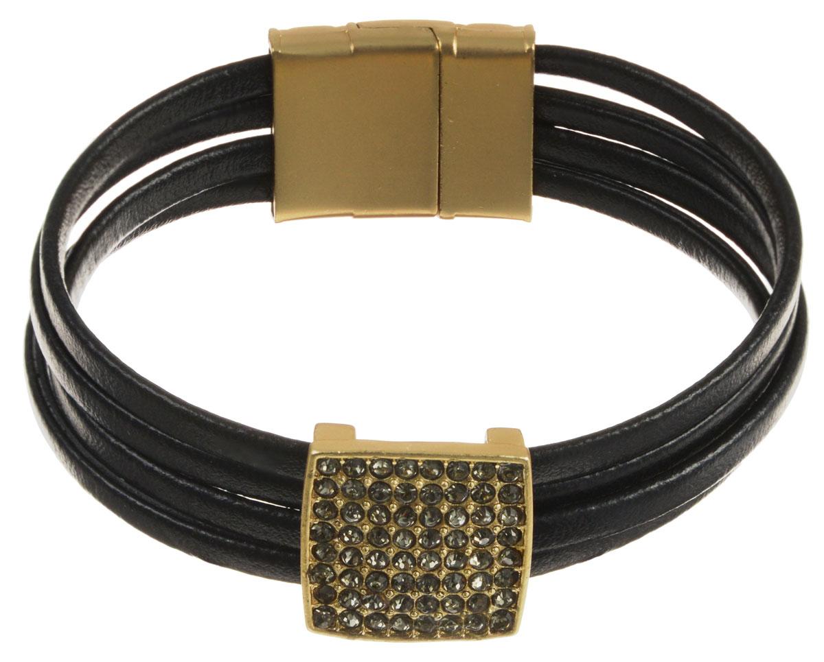 Браслет Taya, цвет: золотистый, черный. T-B-10577-BRAC-GL.BLACKT-B-10577-BRAC-GL.BLACKСтильный браслет Taya выполнен из экокожи в виде четырех шнурков. Изделие дополнено металлическим элементом декорированным стразами. Изделие застегивается на магнитную застежку. Такой оригинальный браслет не оставит равнодушной ни одну любительницу изысканных и необычных украшений, а также позволит с легкостью воплотить самую смелую фантазию и создать собственный, неповторимый образ.