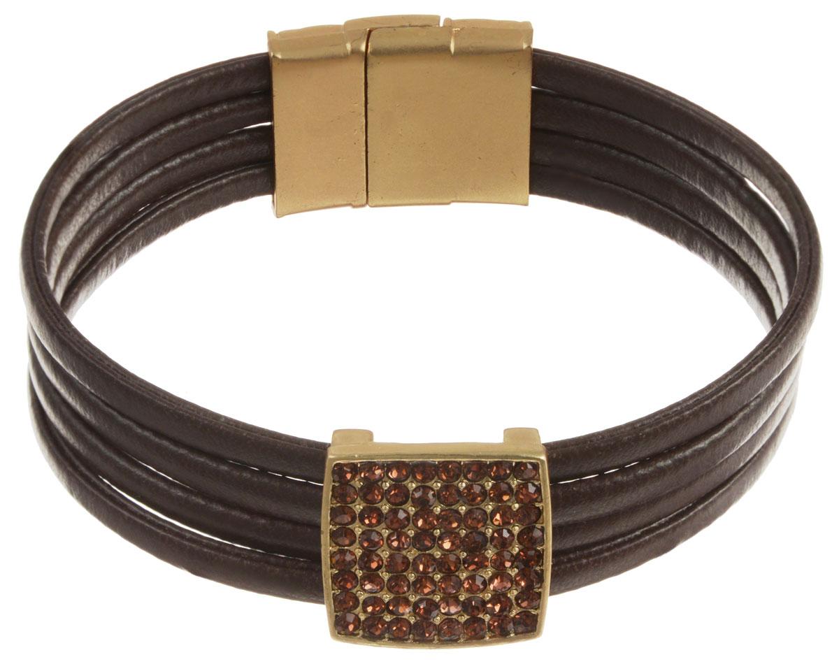 Браслет Taya, цвет: золотистый, коричневый. T-B-10580T-B-10580-BRAC-GL.BROWNОригинальный браслет Taya выполнен в виде четырех ремешков из экокожи, оформленных декоративным элементом, украшенным стразами. Застегивается браслет при помощи магнитного замка. Браслет Taya позволит вам с легкостью воплотить самую смелую фантазию и создать собственный, неповторимый образ.