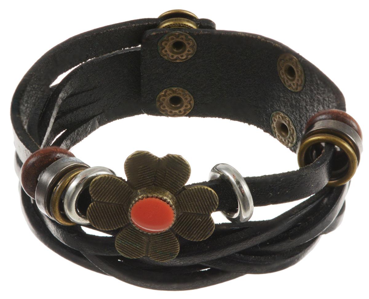 Браслет Taya, цвет: черный. T-B-10421-BRAC-BLACKT-B-10421-BRAC-BLACKСтильный браслет Taya выполнен из натуральной кожи состоит из двух полос. Одна оформлена в виде косички, вторая декорирована цветком и металлическими и деревянными колечками. Изделие застегивается на кнопки, с помощью которых можно регулировать объем. Такой оригинальный браслет не оставит равнодушной ни одну любительницу изысканных и необычных украшений, а также позволит с легкостью воплотить самую смелую фантазию и создать собственный, неповторимый образ.