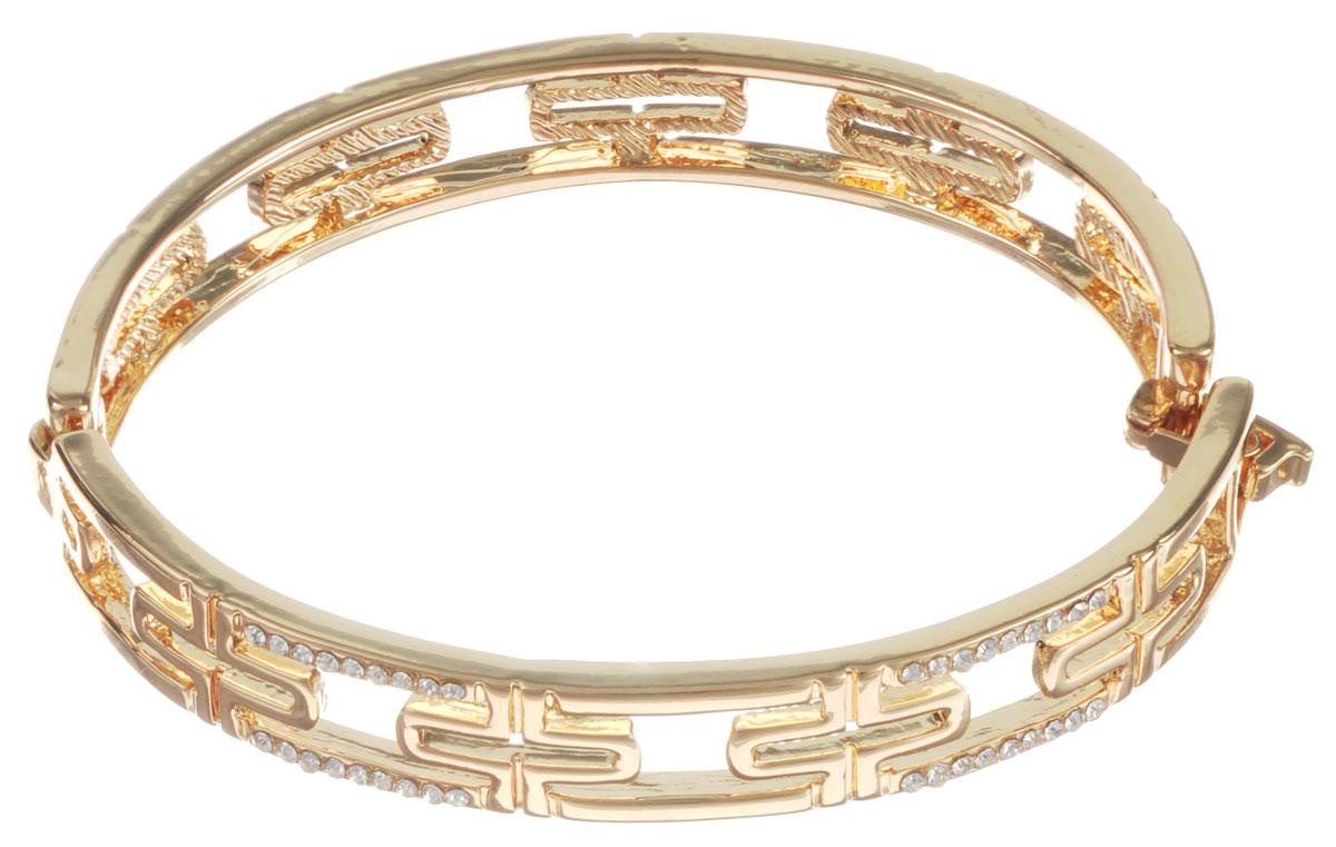 Браслет Taya, цвет: золотистый. T-B-10785T-B-10785-BRAC-GOLDСтильный женский браслет Taya, выполненный из бижутерного сплава, оформлен перфорированным узором и стразами. Застегивается браслет на замок-пряжку. Браслет Taya - это модный стильный аксессуар, призванный подчеркнуть индивидуальность и очарование его обладательницы.