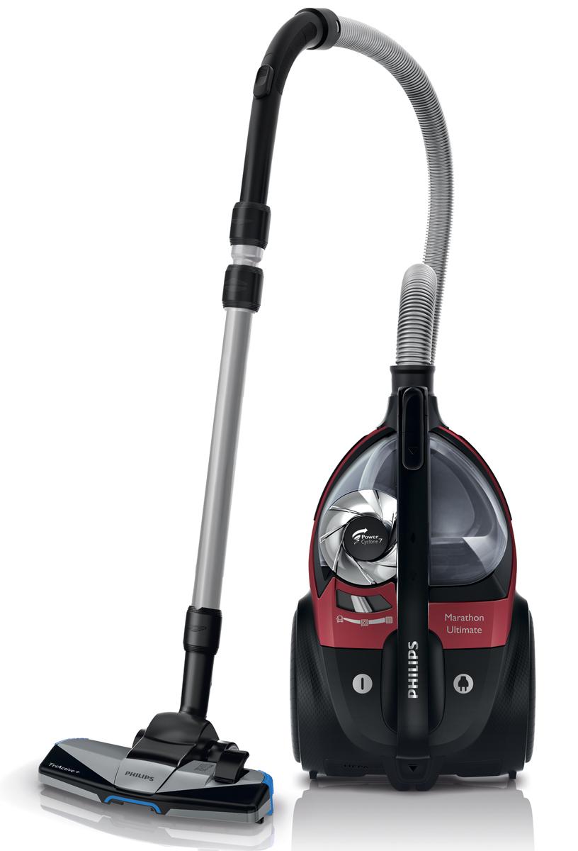 Philips FC9911/01 PowerPro Ultimate, Red пылесосFC9911/01Новый безмешковый пылесос Philips PowerPro Ultimate обеспечивает непревзойденные результаты уборки. Технология PowerCyclone 7 предназначена для эффективного разделения пыли и воздуха. Насадка TriActive+ подходит для уборки любых типов напольных покрытий. PowerCyclone 7 для максимальной мощности всасывания: Аэродинамическая конструкция PowerCyclone 7 сокращает сопротивление воздуха и обеспечивает идеальные результаты уборки в три этапа: 1) Благодаря прямой и широкой воронке на входе поток воздуха поступает в камеру PowerCyclone. 2) Воздуховод изогнутой формы ускоряет воздушный поток в циклонной камере. 3) В верхней части вихревого потока выходные лопасти эффективно отделяют пыль от воздуха. Фильтр Ultra Clean Air HEPA 13 с уровнем фильтрации 99,95 %: Фильтр Ultra Clean Air HEPA 13 удерживает не менее 99,95 % мелких частиц пыли, делая воздух в помещении чистым и устраняя аллергены. Технология NanoClean для удобного удаления пыли...