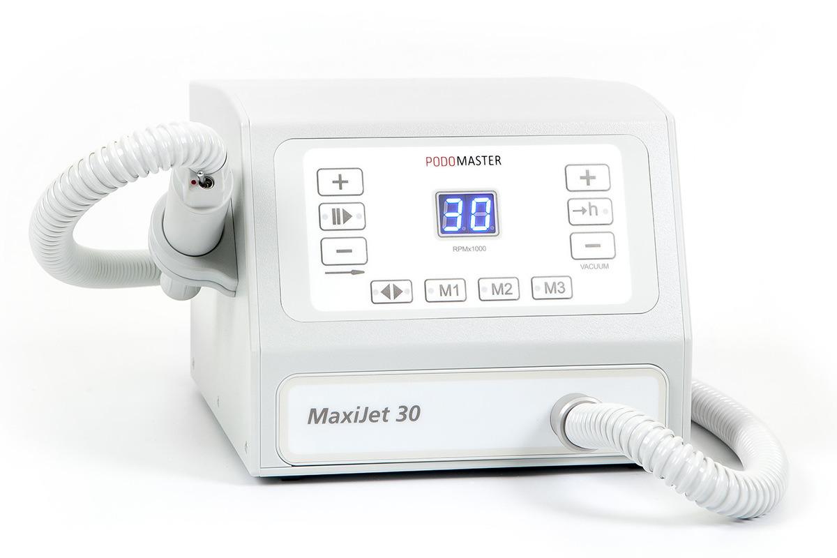 Евромедсервис Аппарат с пылесосом Podomaster MaxiJet 30 (30 тыс. об/мин)790Аппарат для педикюра Podomaster MaxiJet 30 предназначен для проведения процедур педикюра с одновременным удалением пыли в специальный мешок при помощи встроенного пылесоса. Скорость вращения аппарата — 30 000 оборотов в минуту. Функции: 3 ячейки памяти скорости вращения, плавная регулировка оборотов, реверс, функция паузы, счетчик часов работы для своевременной замены фильтра, регулировка мощности пылесоса, цифровой дисплей, возможность подключения педали плавной регулировки оборотов (опция). Отличительные особенности: регулировка всех настроек при помощи клавиатуры, ультралегкий наконечник, выключатель на ручке, боковой держатель для наконечника, силиконовый колпачок против попадания пыли в выключатель. Боковой держатель для наконечника может устанавливаться как на левую, так и на правую сторону аппарата.