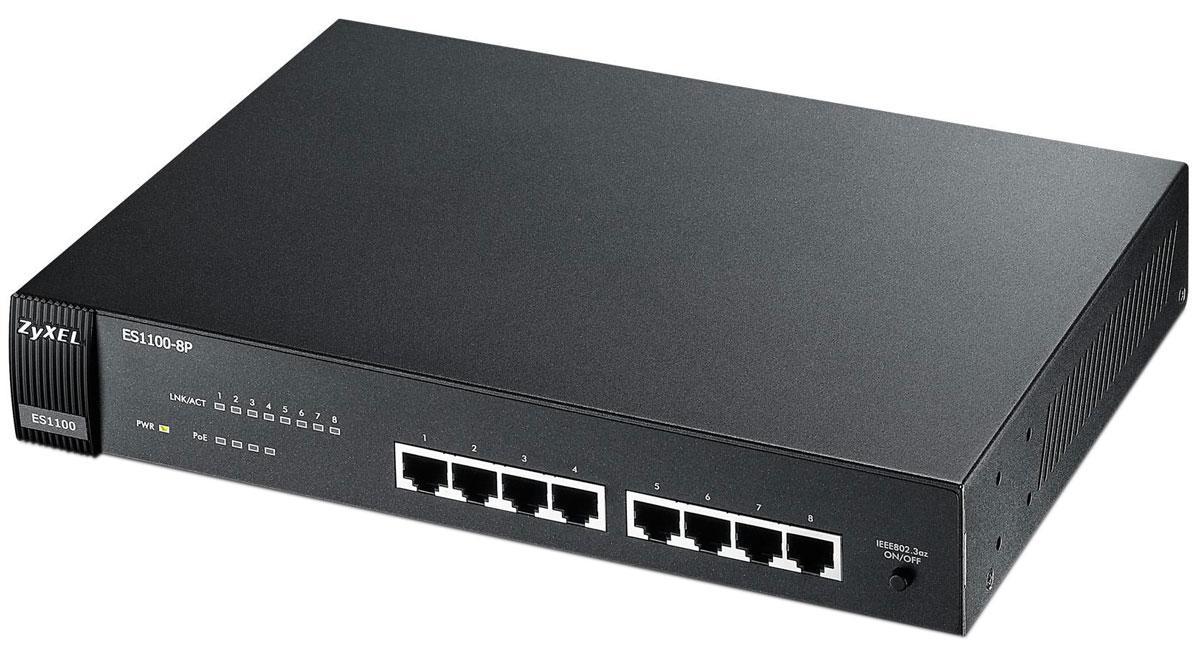 Zyxel ES1100-8P коммутатор (8 портов)ES1100-8PES1100-8P представляет собой неуправляемый коммутатор с 8 интерфейсами 10/100 Мбит/c, из которых 4 поддерживают технологию PoE для передачи данных и питания по медному кабелю на оконечные сетевые устройства, такие как точки доступа Wi-Fi, IP-телефоны и видеокамеры. Коммутатор не требует настроек и предназначен для быстрого подключения компьютеров и других сетевых устройств к существующей сети малых и средних компаний. Интерфейсы PoE полностью соответствуют стандарту 802.3af и обеспечивают мощность до 15,4 Вт на каждое подключаемое устройство. ES1100-8P имеет настольное исполнение, но возможна установка и в 19-дюймовую стойку посредством монтажных скоб, которые входят в комплект поставки. Разъем питания и сетевые интерфейсы находятся на одной панели для удобства подключения кабельной инфраструктуры. Безвентиляторное исполнение Уменьшение потребляемой мощности при отсутствии соединения и в зависимости от длины кабельной системы (Link-on...