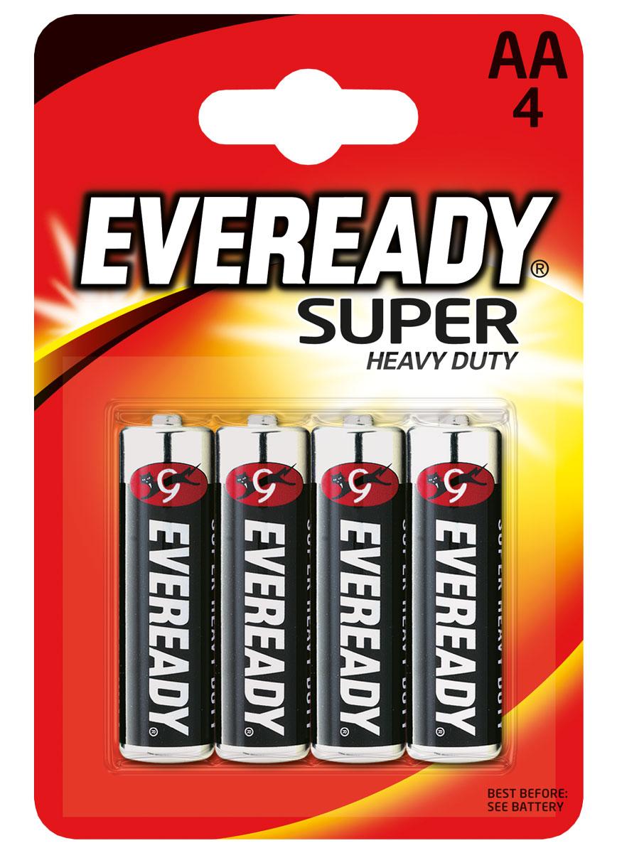 Батарейка Eveready Super, тип AA, 1,5V, 4 шт620464/637084Солевая (угольно-цинковая) батарейка Eveready Super состоит из диоксида марганца. Оптимальна для приборов ежедневного пользования. Защищена от протеканий.