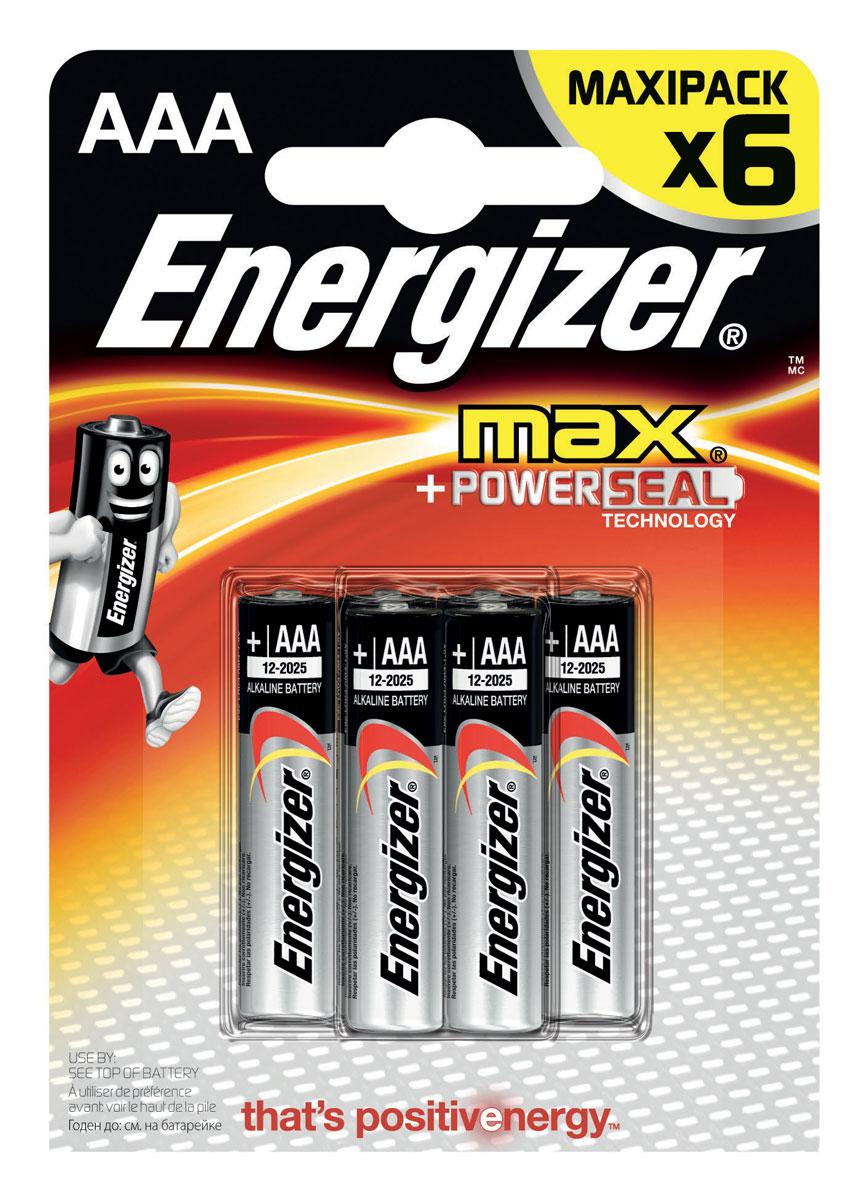 Батарейка Energizer Max, тип ААA/LR03, 1,5 V, 6 шт