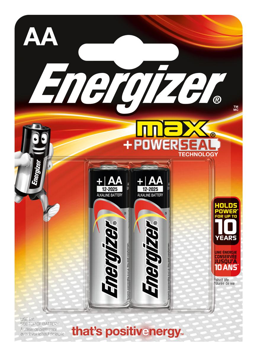 Батарейка Energizer Max, тип АА/LR6, 1,5 V, 2 штE300157000Батарейка Energizer Max - безотказный источник энергии для устройств повседневного пользования. Чаще всего применяется в пультах управления, небольших фонарях, часах, радио. Это первая в мире щелочная батарейка без ртути. Работает до 45% дольше, держит заряд до 10 лет. Стандартные щелочные батарейки Energizer защищены от протеканий.