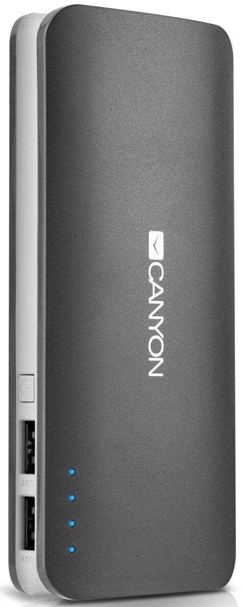 Canyon CNE-CPB130DG, Dark Grey внешний аккумуляторCNE-CPB130DGЕсли в вашей сумке лежит аккумулятор CNE-CPB130 от Canyon — вы не останетесь с разряженной батареей смартфона или планшета. Низкий заряд гаджета больше не проблема – благодаря двум USB-портам от ультраёмкого аккумулятора Canyon можно заряжать 2 устройства одновременно! Ёмкости аккумулятора должно хватить на 5-6 зарядок среднестатистического смартфона. А проследить уровень заряда аккумулятора можно с помощью светодиодных индикаторов. Отличный помощник в городе и в поездке! Время зарядки: 8 часов Максимальная выходная сила тока: 2 A