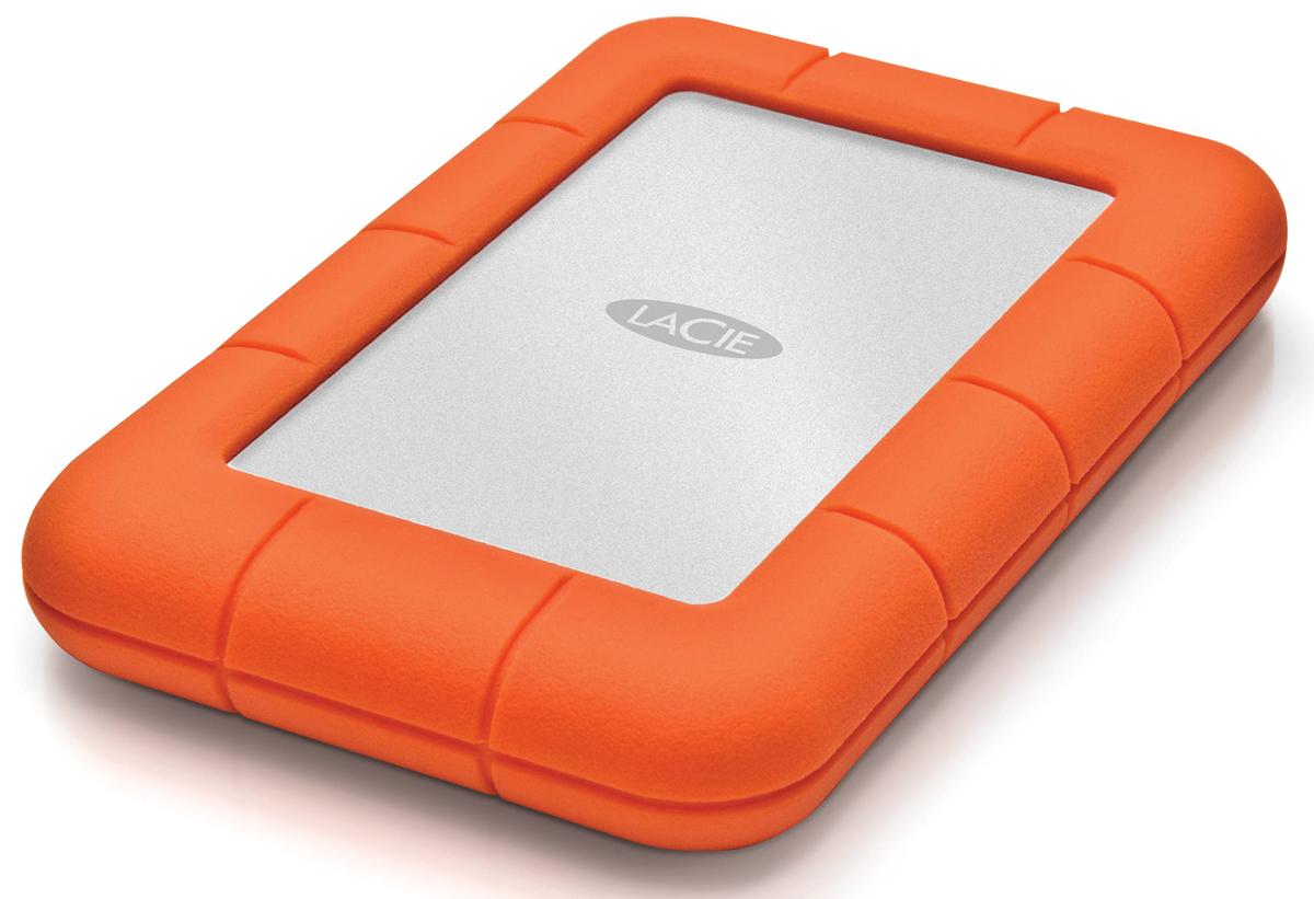 LaCie Rugged Mini 500GB внешний жесткий диск301556LaCie Rugged Mini - мобильный внешний жесткий диск, выполненный в форм-факторе 2,5 дюйма, привлекает внимание своим необычным видом. Резиновые манжеты выполняют не только декоративную, но и защитную функцию. Устройству не страшны не только царапины и удары, но и проливной дождь, а также сильнейшее давление. Разъем USB 3.0 гарантирует подключение к любому девайсу, оборудованному аналогичным портом.Более того, аппарат имеет полную обратную совместимость с USB 2.0. Поддерживается аппаратное шифрование AES. Скорость вращения шпинделя: 7200 об/мин Падение с высоты 1,2 м Давление: 1000 кг Совместимые ОС: Windows 7, Windows 8 и выше / Mac OS X 10.5 и выше