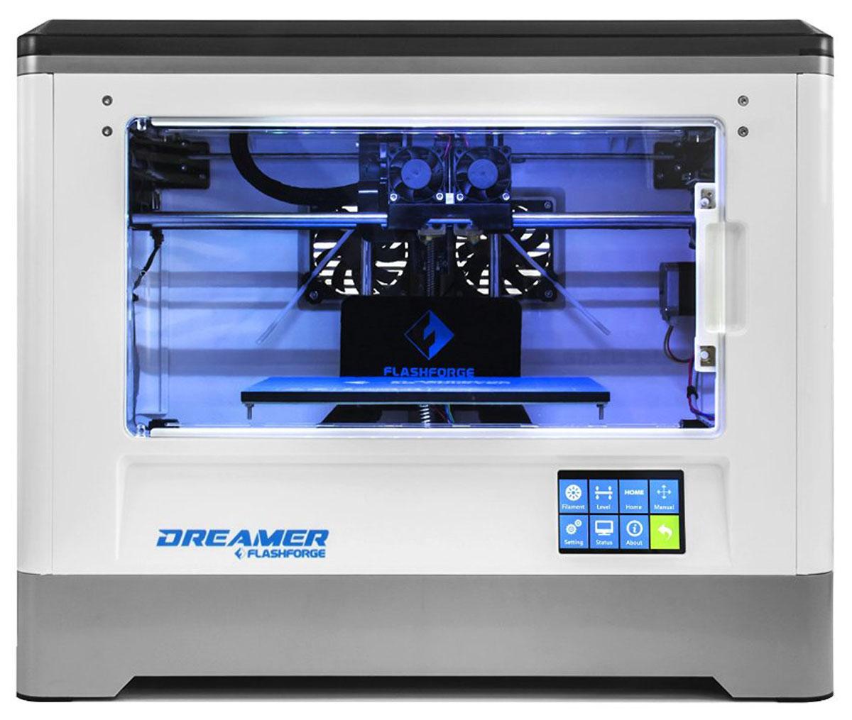 FlashForge Dreamer 3D принтерFlashForge Dreamer3D принтер Flashforge Dreamer - универсальный принтер, как для дома, так и для образования. Полностью закрытий корпус защищает все движущиеся и нагревающиеся элементы, что делает данный принтер полностью безопасным в использовании. Кроме этого, это позволяет сохранять стабильную постоянную температуру внутри принтера, что позволяет работать любыми видами пластиками. Принтер оснащен двух головочным экструдером, что увеличивает ваши возможности при печати, подогреваемой платформой, 3,5 дюймовым LCD дисплеем. Также расширен интерфейс подключения, помимо стандартных USB кабеля и SD карты, принтер может работать посредствам WiFi соединения. Простой и понятный пользовательский интерфейс программного обеспечения, поможет вам успешно нарезать .STL файлы с первого раза использования и печатать их. Данный принтер имеет сертификаты безопасности в Европе и Соединенных Штатах. ARM Contex-M4 процессор CPU Область построения: 230 x 150 x 150 мм ...