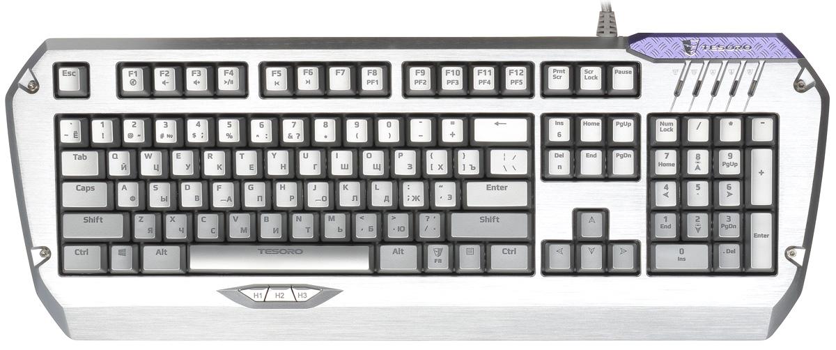 Tesoro Colada Saint TS-G3NL игровая клавиатура (Cherry MX Black)TS-G3NL Silver BlackTesoro Colada Saint — это уникальная профессиональная клавиатура с металлическим корпусом. Она сочетает в себе все достоинства игровых клавиатур. Механические переключатели, прочность, встроенная память для полноценного программирования и полностью регулируемая подсветка. Такого коктейля продвинутых фишек не было ещё ни в одном геймерском устройстве. Не стоит забывать и о других полезных достоинствах Colada. Она позволяет нажимать неограниченное количество клавиш без блокировки, имеет три клавиши под большим пальцем для быстрого вызова макросов. 128 Кб встроенной памяти позволяют сохранить до 300 последовательностей действий или 2048 команд. И она оборудована USB-хабом.