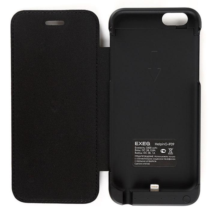 EXEQ HelpinG-iF09, Black чехол-аккумулятор для iPhone 6 (3300 мАч, флип-кейс)HelpinG-iF09 BLЯркому и стильному смартфону шестого поколения необходимы не менее яркие и элегантные аксессуары. Одним из таких представителей является чехол-аккумулятор Exeq HelpinG-iF09. Лаконичный и продуманный дизайн, практичная цветовая гамма, надежная защита и встроенный аккумулятор емкостью 3300 мАч для своевременной подзарядки батареи – вот основные преимущества Exeq HelpinG-iF09. Такой чехол не просто защитит смартфон от грязи, ударов, царапин и обеспечит подзарядку, но и изящно подчеркнет утонченный стиль самого смартфона. Элегантная конструкция Exeq HelpinG-iF09 обеспечит надежную защиту не только задней и боковым поверхностям смартфона, но и его дисплею, благодаря удобной откидной крышке. Для комфортной эксплуатации телефона в чехле также есть специальная выдвижная ножка-подставка. Зарядка чехла-аккумулятора Exeq HelpinG-iF09 происходит от зарядного устройства смартфона. Необходимо просто подсоединить зарядное устройство к чехлу и зарядка последнего...