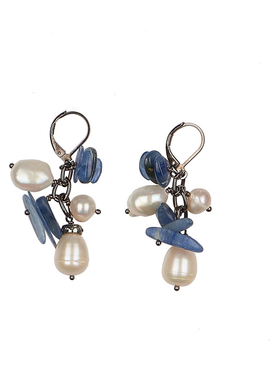 Серьги 'Polina Selezneva', цвет: синий, белый, черный. 004-0977