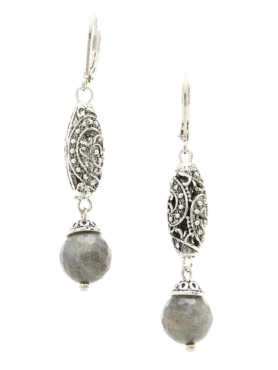 Серьги 'Polina Selezneva', цвет: серый, серебристый. 004-0937