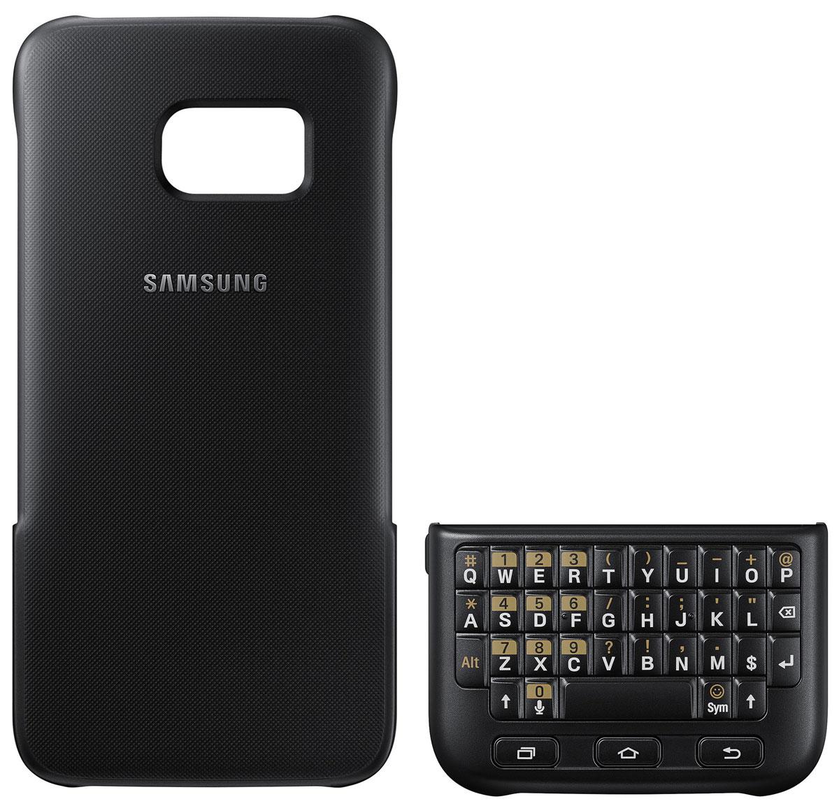 Samsung EJ-CG930 Keyboard Cover чехол-клавиатура для Galaxy S7, BlackEJ-CG930UBEGRUЧехол-клавиатура Samsung EJ-CG930 Keyboard Cover разработан специально для модели смартфона Galaxy S7. С его помощью набирать текст сообщений, создавать и сохранять заметки быстрее и проще. Накладная клавиатура работает по механическому принципу – она не тратит проценты заряда вашего смартфона и не требует дополнительных подключений. Клавишный блок можно разместить поверх экрана – смартфон автоматически распознает его и адаптирует интерфейс к новому размеру дисплея. Чехол также выполняет защитную функцию – предохраняет смартфон от пыли и повреждений. Модель совместима с ОС Android 4.4 или выше.