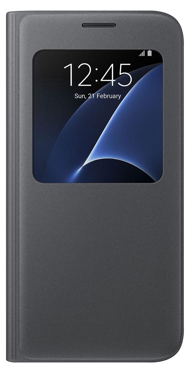 Samsung EF-CG930 S View Cover чехол для Galaxy S7, BlackEF-CG930PBEGRUSamsung EF-CG930 S View Cover - тонкий и стильный чехол с дополнительным окошком, изготовленный из высококачественных материалов, обеспечивает надежную защиту дисплея. Создан специально для Galaxy S7, практически не увеличивает габариты и сохраняет компактность смартфона. Благодаря ему вы можете следить за информацией на экране без лишних движений.