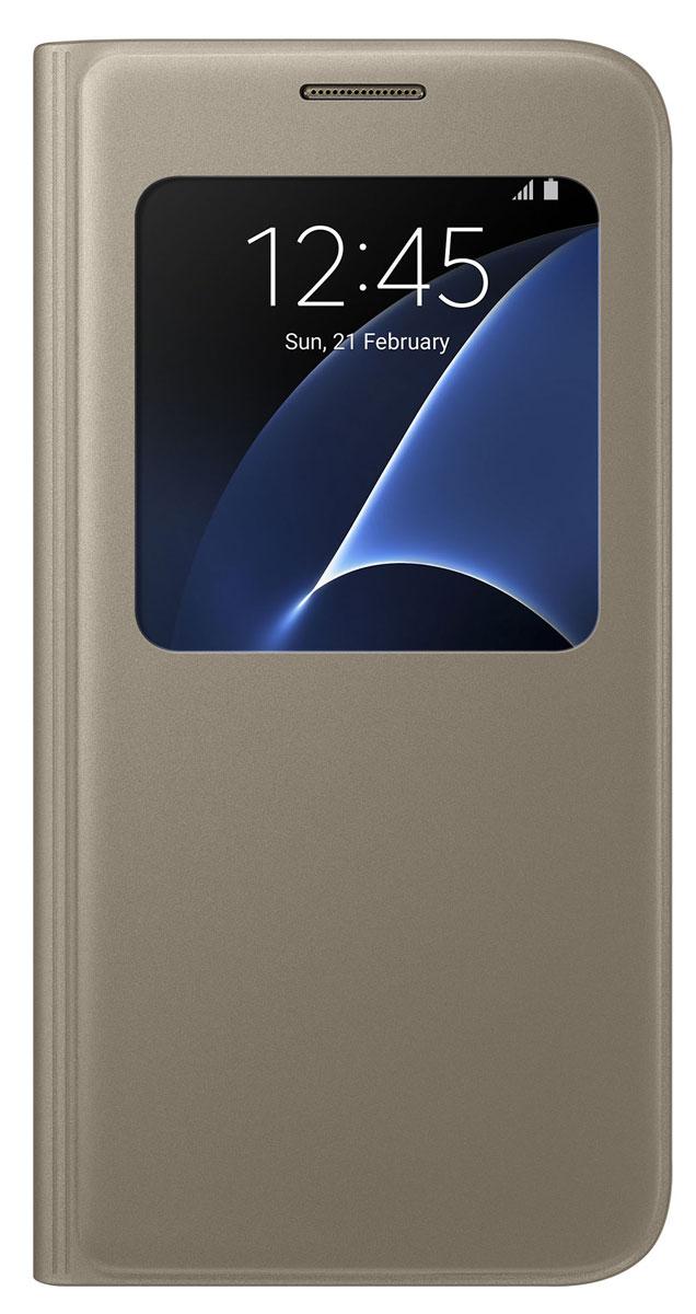 Samsung EF-CG930 S View Cover чехол для Galaxy S7, GoldEF-CG930PFEGRUSamsung EF-CG930 S View Cover - тонкий и стильный чехол с дополнительным окошком, изготовленный из высококачественных материалов, обеспечивает надежную защиту дисплея. Создан специально для Galaxy S7, практически не увеличивает габариты и сохраняет компактность смартфона. Благодаря ему вы можете следить за информацией на экране без лишних движений.