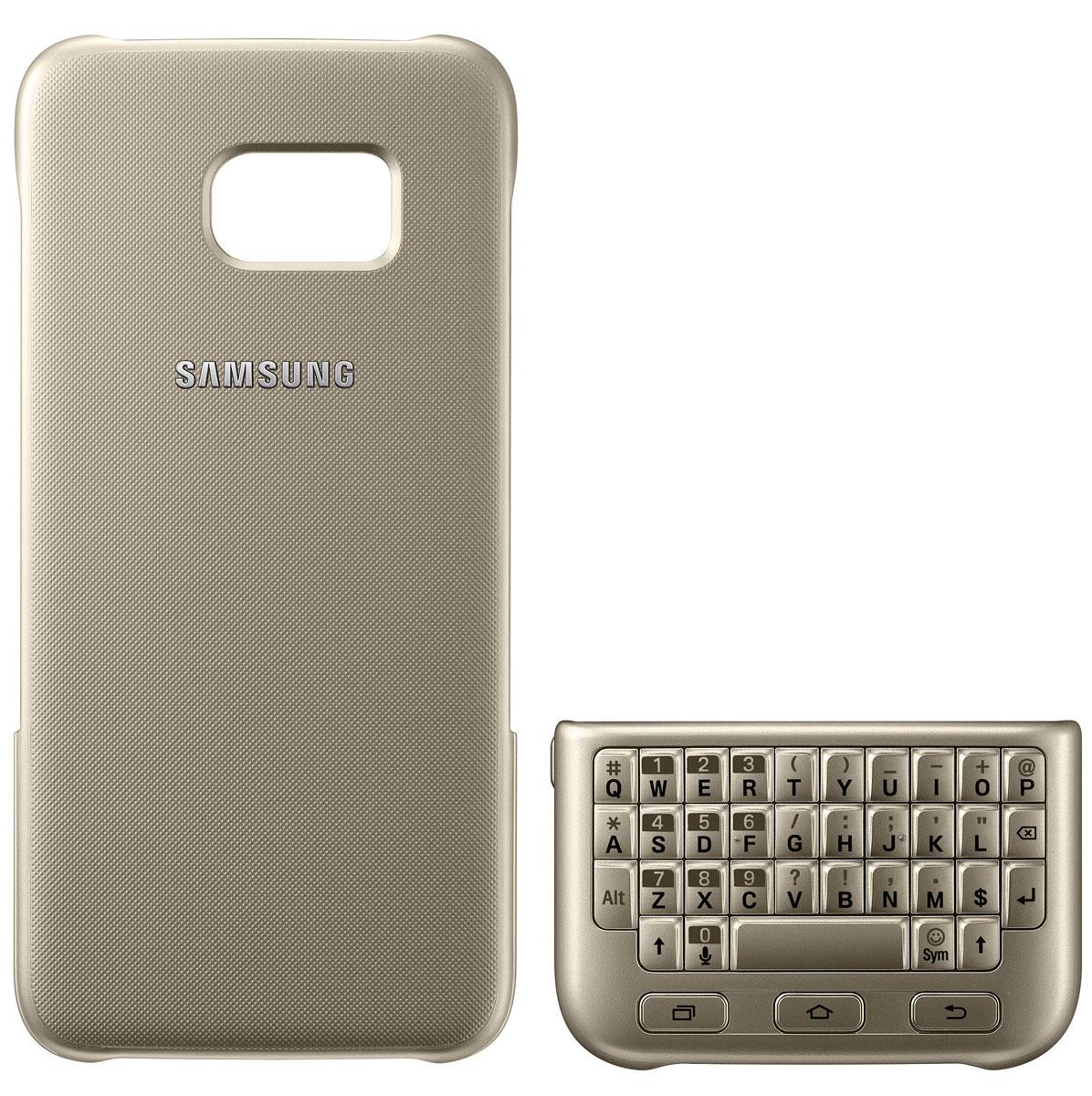 Samsung EJ-CG935 Keyboard Cover чехол-клавиатура для Galaxy S7 Edge, GoldEJ-CG935UFEGRUЧехол-клавиатура Samsung EJ-CG935 Keyboard Cover разработан специально для модели смартфона Galaxy S7 Edge. С его помощью набирать текст сообщений, создавать и сохранять заметки быстрее и проще. Накладная клавиатура работает по механическому принципу - она не тратит проценты заряда вашего смартфона и не требует дополнительных подключений. Клавишный блок можно разместить поверх экрана - смартфон автоматически распознает его и адаптирует интерфейс к новому размеру дисплея. Чехол также выполняет защитную функцию - предохраняет смартфон от пыли и повреждений. Модель совместима с ОС Android 4.4 или выше.