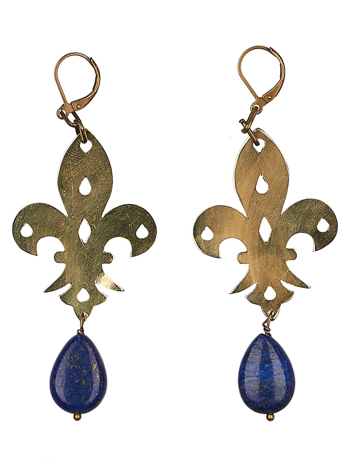 Серьги 'Polina Selezneva', цвет: синий, золотистый. 004-0987