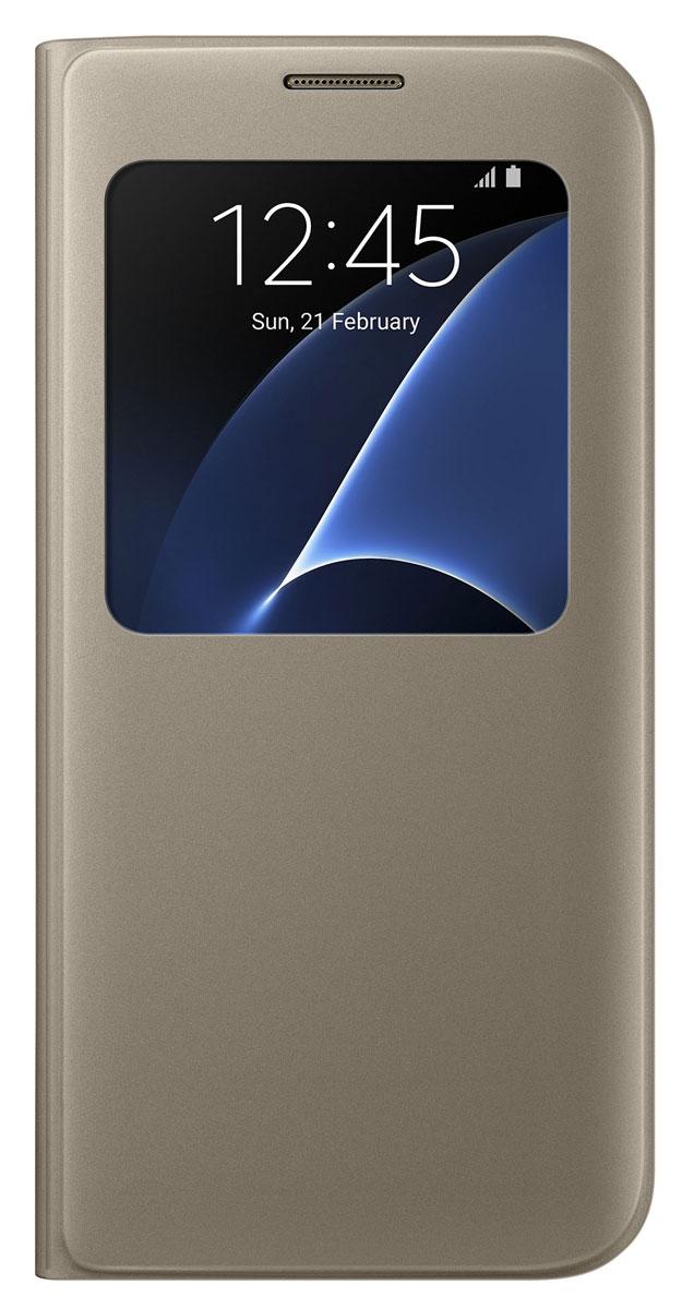 Samsung EF-CG935 S View Cover чехол для Galaxy S7 Edge, GoldEF-CG935PFEGRUSamsung EF-CG935 S View Cover - тонкий и стильный чехол с дополнительным окошком, изготовленный из высококачественных материалов, обеспечивает надежную защиту дисплея. Создан специально для Galaxy S7 Edge, практически не увеличивает габариты и сохраняет компактность смартфона. Благодаря ему вы можете следить за информацией на экране без лишних движений.