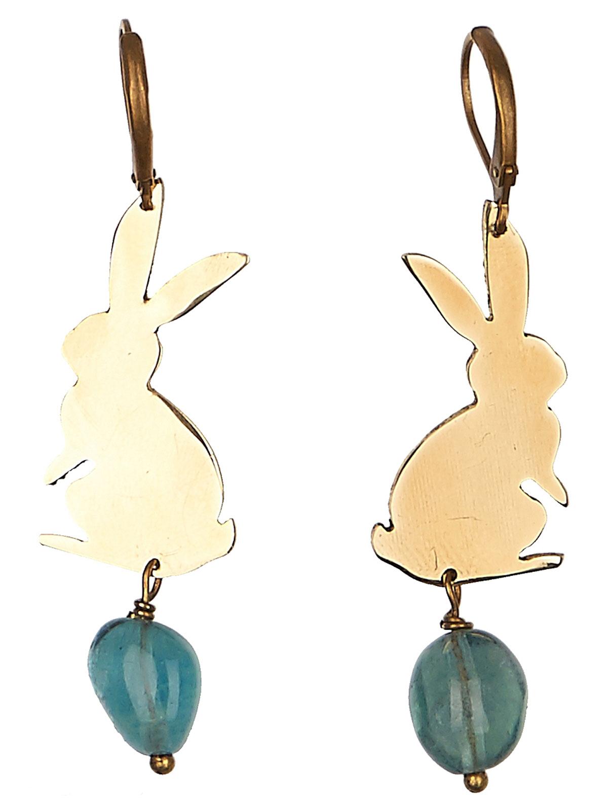 Серьги Polina Selezneva, цвет: голубой, золотистый. 004-0984004-0984флюорит, латунь