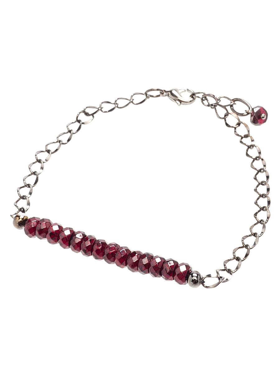 Браслет Polina Selezneva, цвет: бордовый, черный. 002-2819002-2819гранат, сплав