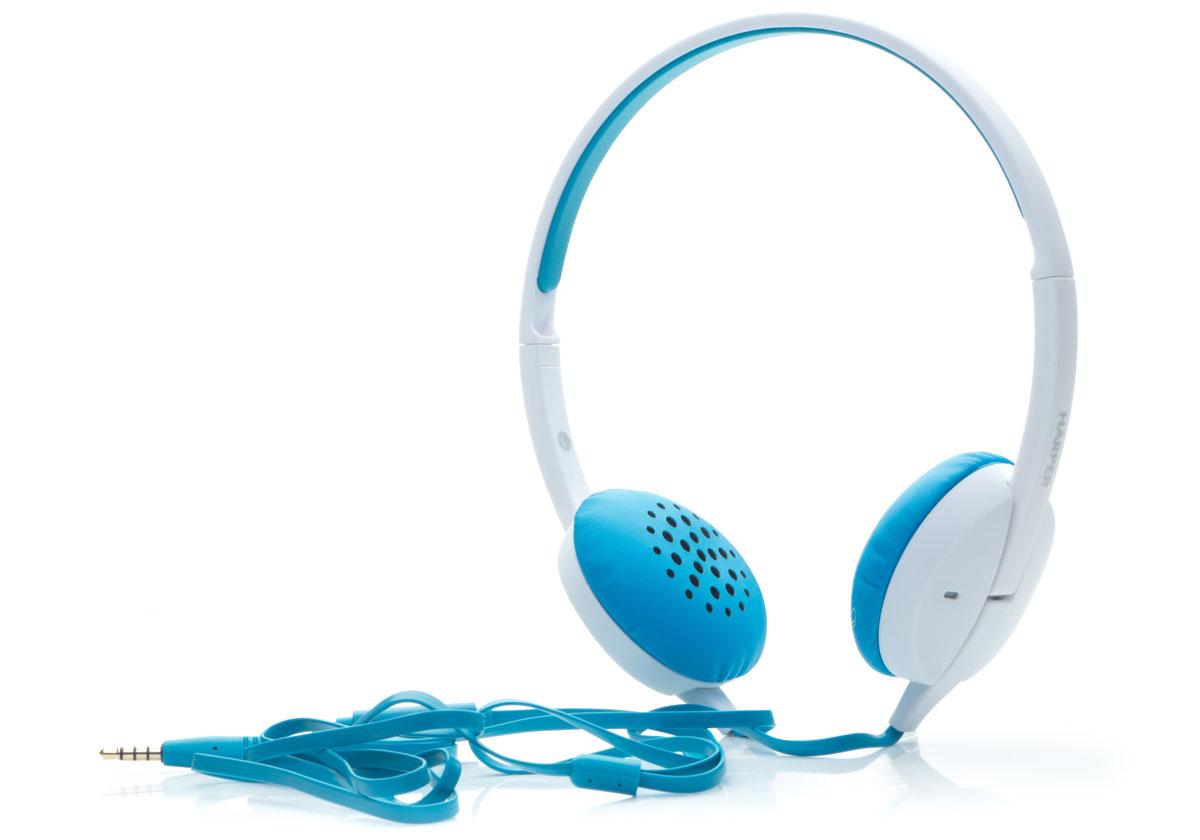 Harper HN-300, Blue наушникиH00000640Накладные наушники Harper HN-300 с микрофоном. Модель очень легкая, с превосходным качеством звука. Плоский кабель длиной 1,2 метра идеально подходит для использования на улице. Встроенный пульт и микрофон для быстрого переключения между музыкой и вызовами.