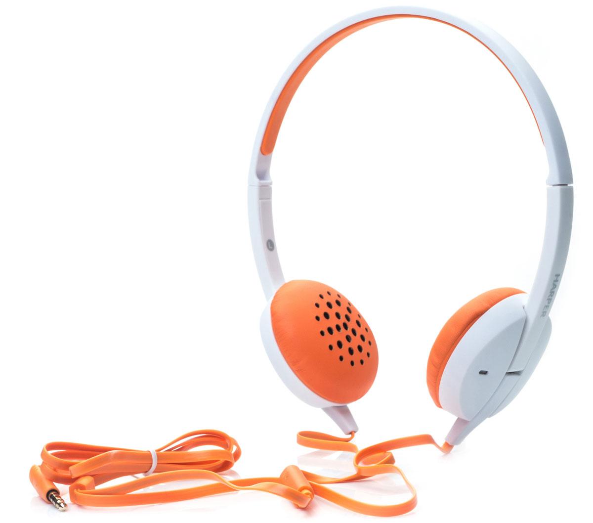 Harper HN-300, Orange наушникиH00000638Накладные наушники Harper HN-300 с микрофоном. Модель очень легкая, с превосходным качеством звука. Плоский кабель длиной 1,2 метра идеально подходит для использования на улице. Встроенный пульт и микрофон для быстрого переключения между музыкой и вызовами.