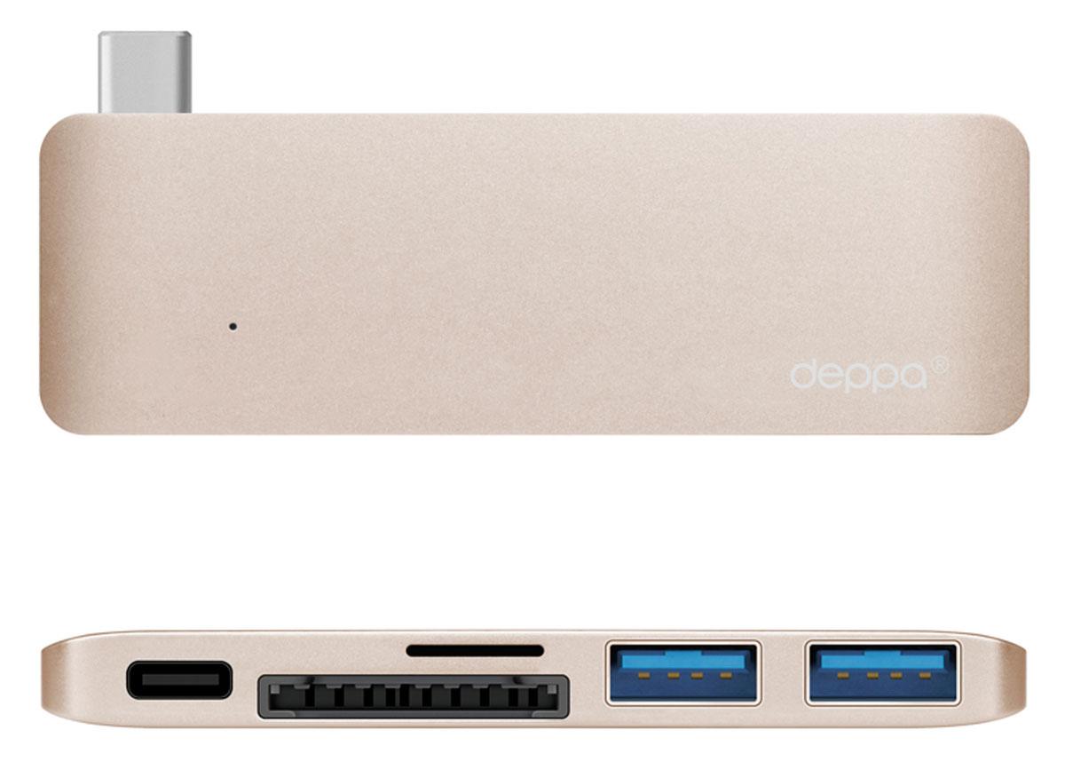 Deppa Ultra book USB Type C адаптер для Macbook, Gold72219Благодаря адаптеру Deppa Ultra book USB Type C вы сможете одновременно подключить сразу несколько аксессуаров к вашему МасВоок: устройства с разъемом Туре-С. карты памяти, флеш-накопители и другие мобильные устройства со стандартным USB-разьемом. Вы можете использовать зарядное устройство Macbook, не отсоединяя адаптер. Корпус адаптера выполнен из цельного листа алюминия по технологии Unibody, существенно увеличивающей надежность и долговечность устройства. Цвета адаптера в точности соответствуют цветам корпуса Macbook Дизайн формы специально разработан для этой модели и создает гармоничное единство с вашим устройством. Разъем для карт памяти формата microSDHC Разъем для карт памяти формата SDHC