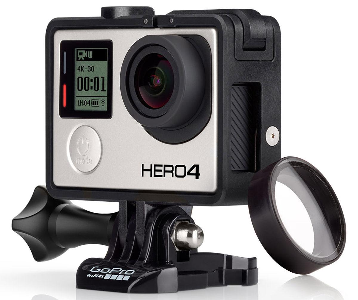GoPro The Frame Hero 3+/4 крепление-рамкаANDFR-302GoPro The Frame - самый легкий и простой вариант крепления для вашей GoPro Hero 3+/4. Ультракомпактная, изготовленная из низкопрофильной открытой конструкции, рамка обеспечивает оптимальный захват звука во время деятельности на низких скоростях, предоставляя доступ к камере, microSD, microHDMI и USB портам для удобной загрузки данных, воспроизведения видео и зарядки. Это идеальное решение для концертов, репетиций, проведения клубных вечеринок, спортивных мероприятий и любой другой деятельности, когда качество изображения так же важно, как и качество звука.