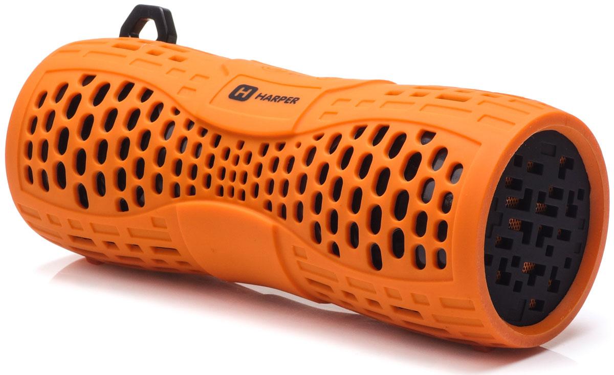 Harper PS-045, Orange портативная акустическая системаH00001021Harper PS-045 - портативная акустическая система с влагозащищенным корпусом и встроенным микрофоном. Представленная модель поддерживает высокоскоростное беспроводное соединение посредством Bluetooth, что в свою очередь позволяет использовать любые аудиоустройства или прочие девайсы, поддерживающие данную функцию, для воспроизведения звуковых файлов на расстоянии до 10 метров. Данная модель также оснащена входом Micro USB, разъемом AUX, а также степенью защиты IPX6, благодаря чему способна превратиться в маленький музыкальный центр. Обладая компактными размерами колонка без труда поместится в кармане рюкзака или походной сумки. Аккумулятор: 1000 мАч Время зарядки: 2,5 часа