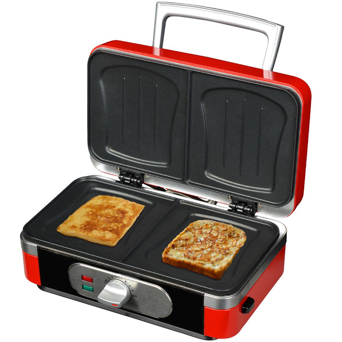 GFgril GF-040 Waffle-Grill-Toast, Red вафельница 3 в 1GF-040 Waffle-Grill-ToastGfgril GF-040 Waffle-Grill-Toast - универсальная многофункциональная вафельница 3 в 1, которая совмещает функции сразу трех приборов: вафельница (2 бельгийские вафли большого размера), тостер- сэндвичмейкер - для 2 тостов или 2 горячих бутербродов, и гриль - для жарки 2-х больших кусков мяса. В комплект входят 3 вида сменных панелей, которые легко моются и легко устанавливаются. Вам доступны 11 температурных режимов для наилучшего контроля степени запекания. Также имеется индикатор включения и нагрева. Рабочая поверхность имеет антипригарное покрытие, которое легко чистится и предотвращает пригорание. Прочный термостойкий корпус, защита от перегрева гарантируют безопасность в процессе приготовления.