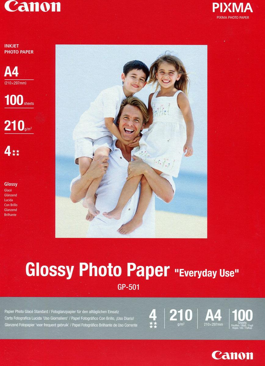 Canon GP-501 170/A4/100л Glossy Photo Paper (0775B001)0775B001Экономичная глянцевая бумага Canon GP-501 A4 для повседневной фотопечати. Идеально подходит для печати цифровых фотографий, которые можно отсылать близким, друзьям и знакомым. Толщина: 210 мкм