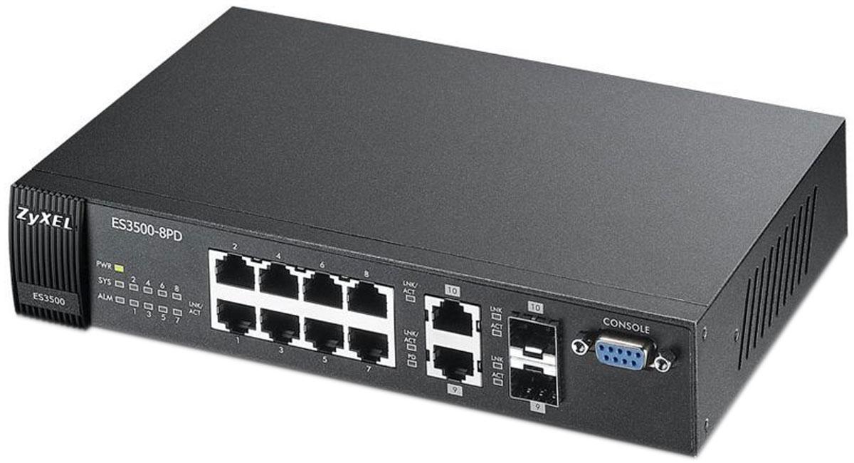Zyxel ES3500-8PD коммутаторES3500-8PDКоммутатор ES3500-8PD входит в серию ES3500 и предназначен для установки в сетях доступа предприятий и операторов связи. Коммутатор имеет 8 портов 10/100 Мбит/с Ethernet и 2 совмещенных порта 1000BASET-T/ SFP для подключения к магистральным каналам связи. Наличие двух гигабитных интерфейсов позволяют строить кольца доступа, в также агрегировать гигабитные интерфейсы для увеличения пропускной способности по медным или оптоволоконным каналам связи. Уникальной функцией коммутатора является его способность получать питание по технологии PoE на медном гигабитном порту по кабелю Ethernet от вышестоящего адаптера или коммутатора PoE 802.3af. В таком сценарии не нужно подключать к коммутатору штатный адаптер питания и тем самым можно его разместить в тех местах, где отсутствует возможность провести силовой кабель питания 220 В. Матрица коммутации: 5,6 Гбит/сек Скорость коммутации: 4.2 кадров/сек Буфер данных: 320 Kбайт Объем памяти flash:...