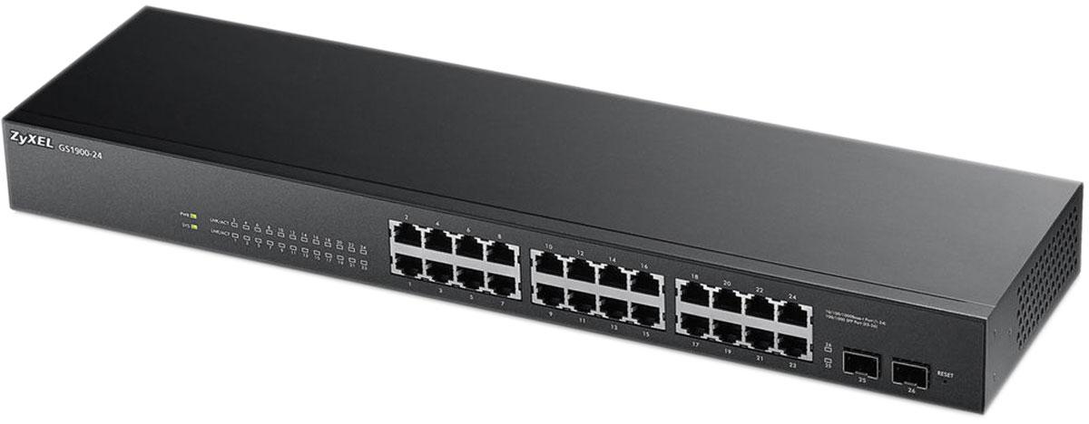 Zyxel GS1900-24 коммутатор (24 порта)GS1900-24Серия гигабитных коммутаторов 1900 представлена моделями на 8, 16, 24 и 48 портов для установки на уровне доступа в сетях небольших предприятий с целью подключения персональных компьютеров и других сетевых устройств. Модели с поддержкой PoE обеспечивают одновременную передачу данных и питания на оконечные сетевые устройства, такие как видеокамеры, IP-телефоны или точки доступа Wi-Fi. Все модели отвечают современным требованиям стандарта энергосбережения IEEE802.3az. Коммутаторы серии 1900 относятся к сегменту интеллектуальных коммутаторов. Мастер первоначальной настройки находится в веб-интерфейсе для упрощенной настройки сетевых параметров. Администрирование коммутаторов доступно по протоколу SNMP, загрузка обновленных микропрограмм может быть осуществлена по TFTP, а контроль нештатных ситуаций в работе устройства – по журналу событий Syslog. Функция LLDP позволяет коммутаторам оповещать локальную сеть о своем существовании и характеристиках, а...