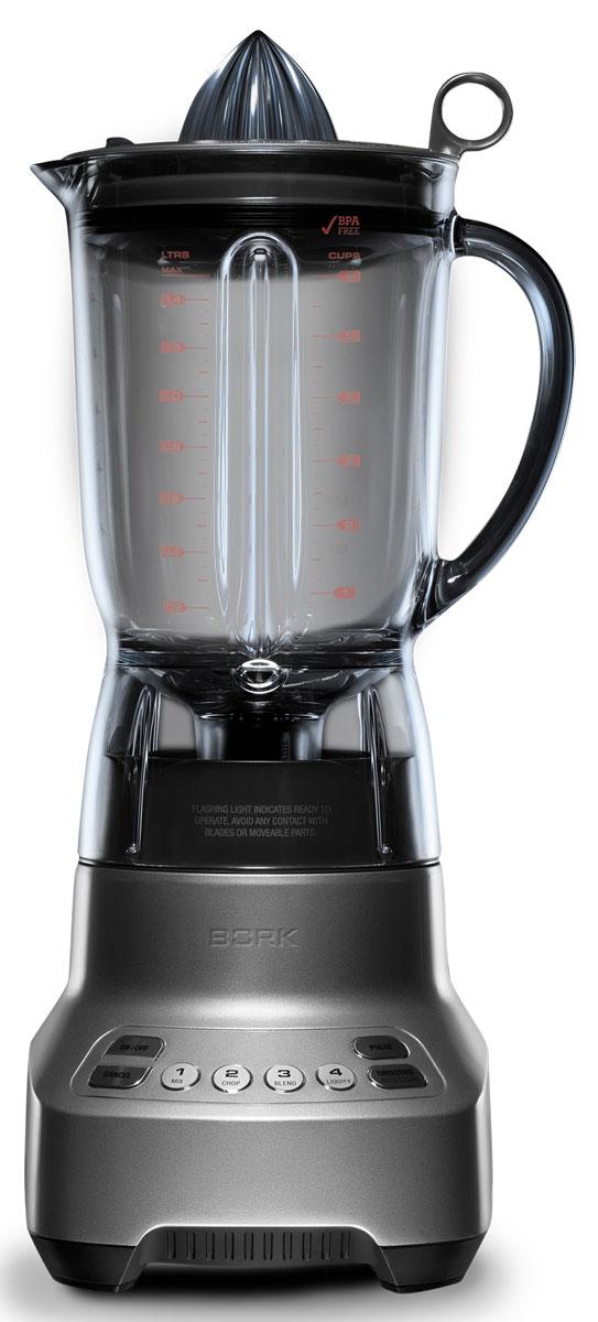Bork B501 блендерB501Универсальный прибор Bork B501 из высококачественных материалов предназначен для измельчения различных ингредиентов, а благодаря специальной насадке устройство позволяет в считанные минуты получить вкусный и полезный сок из цитрусовых. Ударопрочная чаша объемом 1,5 литра позволит приготовить разнообразные напитки для всей семьи и легко переносит мойку в посудомоечном машине. Устройство имеет 6 режимов работы: MIX и BLEND для смешивания, PULSE для интенсивной обработки, LIQUIFY и CHOP для создания смесей, а также SMOOTHIE для приготовления смузи. Прочная чаша объемом 1,5 литра выполнена из прочного полимера Eastman Tritan, который не содержит вредных веществ. Ударостойкая, долговечная, легко переносит мойку в посудомоечной машине. Система ножей Mini Kinetix эффективно измельчает ингредиенты и равномерно смешивает продукт по всему объему чаши. Высокопрочные материалы, защита от перегрева и плавный пуск двигателя обеспечивают высокую...