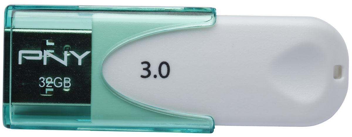 PNY Attache 4 USB 3.0 32Gb, White Green флеш-накопитель3536401519478PNY Attache 4 USB 3.0 - это стильный, компактный флеш-накопитель, который позволит вам значительно расширить свои возможности в области обмена данными. Эта флешка позволяет быстро передавать большое количество информации, от документов и фотографий до музыки и фильмов. Высокая скорость, внушительный объем и надежность хранения информации позволяют использовать накопитель как временное, так и небольшое постоянное хранилище данных.
