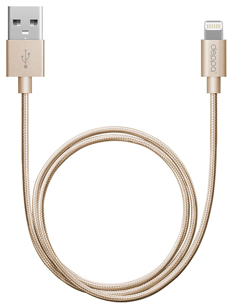 Deppa Alum MFI, Gold дата-кабель USB-8-pin (1,2 м)72188Дата - кабель Deppa Alum MFI обеспечит синхронизацию и заряд аккумулятора вашего устройства. Качество кабеля, форма, дизайн и материалы упаковки полностью соответствуют стандартам качества Apple Inc. и официально одобрены корпорацией к производству и продаже. Совместимость: Apple iPhone 5/5C/5S/5/6/6 Plus, iPad mini 3, iPad mini 2, iPad mini, iPad Air 2, iPad Air, iPod Touch 5, iPod Nano 7 Алюминиевые коннекторы Рабочее напряжение: 4,8 - 5,5В Ток нагрузки: 2,4A Скорость передачи данных: до 480 Мбит/сек