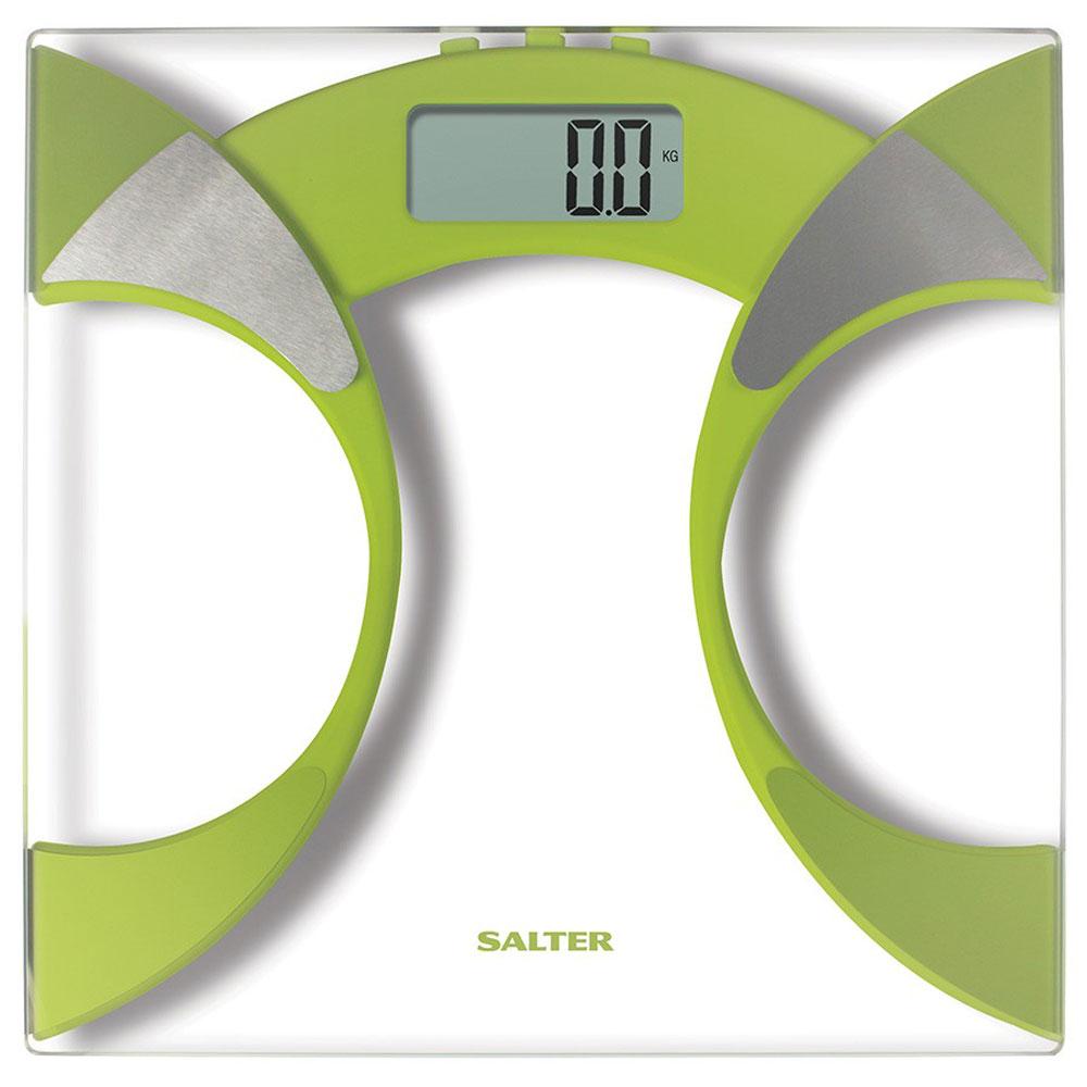Salter 9141 GN3R, Green напольные весы9141 GN3RНапольные весы Salter 9141 отлично подходят для повседневного контроля массы тела и других показателей. Устройство производит последовательное вычисление доли процентного содержания уровней жидкости и жира в теле. Дело в том, что масса тела имеет несколько функциональных показателей, поэтому простое количество килограммов не является индикатором для определения состояния здоровья. Одно из преимуществ этих напольных весов – произведение расчета индекса массы тела. Также реализован поиск оптимальных параметров для каждого человека. Свой рост в сантиметрах необходимо ввести в память напольных весов. После обработки данных роста и весовых показателей, происходит определение оптимальной массы организма. Информация высвечивается на большом электронном экране. Применение закаленного стекла и металла придает изделию небольшую массу и компактные габариты. Включение весов возможно путем прикосновения к ним. Необычный дизайнерский ход – применение...