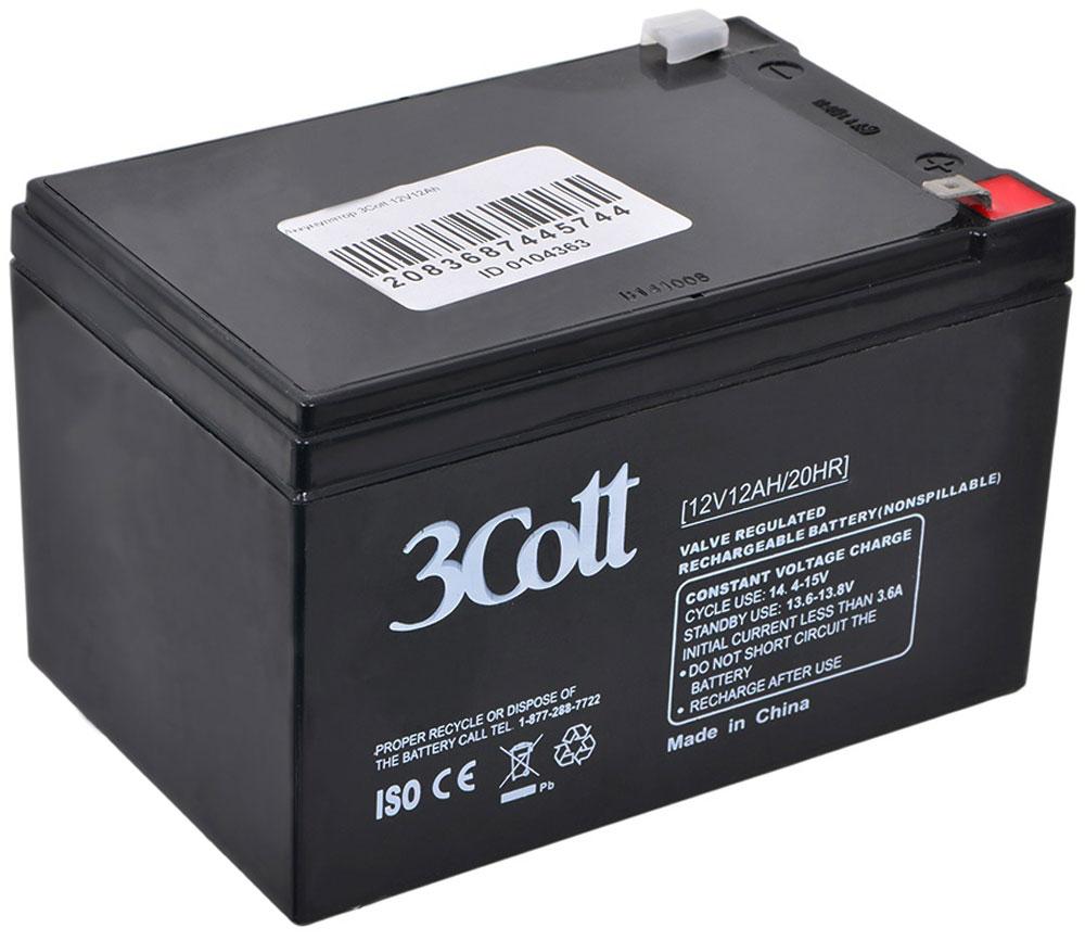 3Cott 12V12Ah аккумулятор для ИБП3Cott-12V12.0AH3Cott 12V12Ah - производительный аккумулятор для ИБП (источники бесперебойного питания), а также других устройств, где необходим источник тока. Технология изготовления аккумуляторов – AGM. Эта технология подразумевает, что электролит в батарее пропитан в поры стекловолоконного сепаратора. Свинцово-кислотные аккумуляторы разработаны и оптимизированы для источников и систем бесперебойного питания, и для работы в буферном режиме. Предусмотрена полностью герметичная конструкция, и клапан внутренней рекомбинации газов, что делает аккумуляторы нетоксичными, и безопасными для работы в офисах, дома и т д. Данные аккумуляторы сочетают в себе высокое качество, стабильные характеристики, одновременно с небольшой ценой, что обеспечивает надежную работу источников бесперебойного питания (UPS), или других устройств.