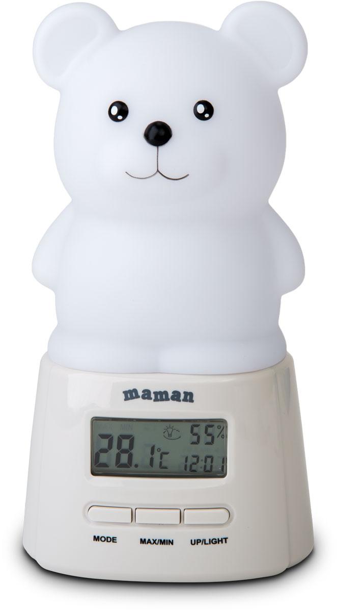 Maman BL201 термогигрометрBL201Термогигрометр Maman BL201 с ночником обеспечит контроль климата в детской комнате. Современное устройство предназначено для контроля температуры и влажности. Прибор обеспечивает точное измерение температуры и влажности в помещении и обладает встроенной памятью максимальных и минимальных значений температуры и влажности. Устройство оборудовано ночным светом (7 цветов), а также сенсорным включением и выключением ночника. Часы, будильник. 3 режима работы ночника: ручное изменение цвета, автоматическое изменение цвета, изменение цвета в зависимости от комнатной температуры. Тип электропитания: от батареек / от сети.
