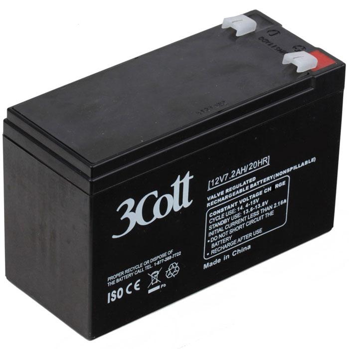 3Cott 12V7.2Ah аккумулятор для ИБП3Cott-12V7.2AHАккумулятор для ИБП 3Cott 12V7.2Ah отличается высокой надежностью, поэтому используется повсеместно: в источниках и системах как бесперебойного питания, так и систем охраны и пожарной безопасности и сигнализации, системы контролирующие доступ, IT и телекоммуникации. Аккумулятор изготовлен по передовой AGM технологии. Свинцово-кислотные серии батарей, в том числе и 3Cott 12V7.2Ah, позволяют непрерывно их использовать, без потребности в техническом обслуживании, сроком службы до 8 лет. Данная модель полностью герметична и жаропрочна. Загущенный непроливной электролит позволяет использование данных аккумуляторных батарей практически в любом положении. Аккумуляторы имеют предохранительный клапан, который выводит образованные внутри батареи, (в случае перезаряда) газы, за пределы корпуса, что предотвращает вздутие и выход АКБ из строя. Клеммы типа Т2 Рекомендуемый максимальный ток зарядки: 3,6 А Циклический режим: 14.4-15В
