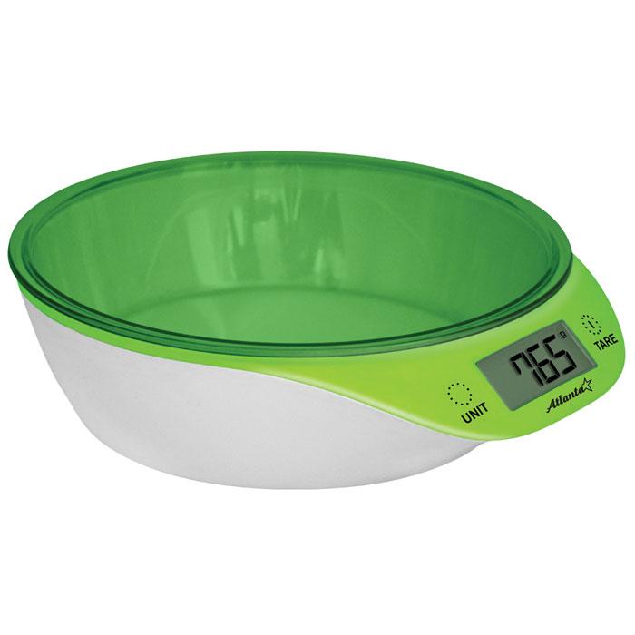 Atlanta ATH-6200, Green весы кухонныеATH-6200Кухонные электронные весы Atlanta ATH-6200 - незаменимые помощники современной хозяйки. Они помогут точно взвесить любые продукты и ингредиенты. Кроме того, позволят людям, соблюдающим диету, контролировать количество съедаемой пищи и размеры порций. Предназначены для взвешивания продуктов с точностью измерения 1 грамм. Яркий дизайн Сенсорные кнопки Функция обнуления веса
