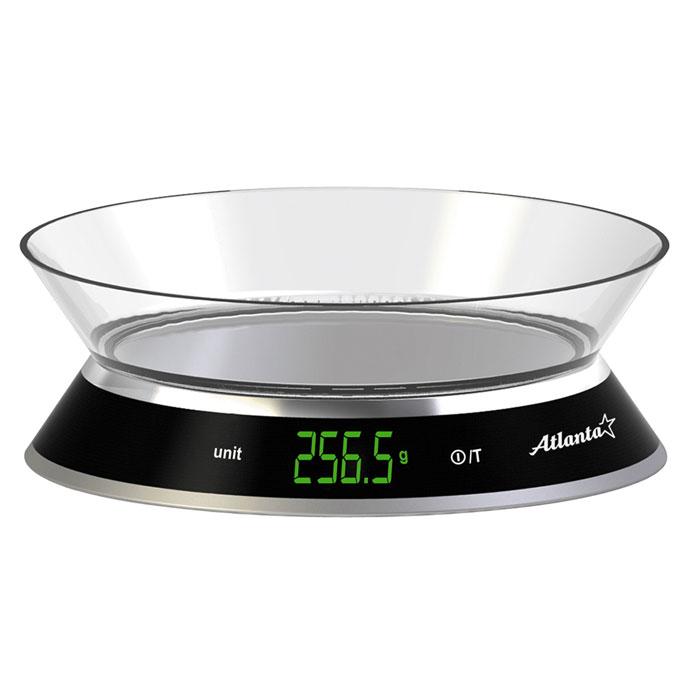 Atlanta ATH-6204 весы кухонныеATH-6204Кухонные электронные весы Atlanta ATH-6204 - незаменимые помощники современной хозяйки. Они помогут точно взвесить любые продукты и ингредиенты. Кроме того, позволят людям, соблюдающим диету, контролировать количество съедаемой пищи и размеры порций. Предназначены для взвешивания продуктов с точностью измерения 1 грамм. Яркий ЖКИ дисплей нового поколения 61 x 23 мм Сенсорные кнопки Функция обнуления веса