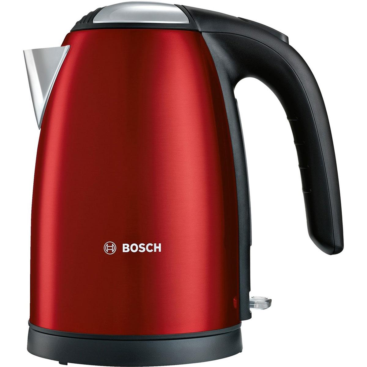 Bosch TWK 7804, Red чайникTWK 7804Bosch TWK 7804 - компактный и надежный электрический чайник со скрытым нагревательным элементом из нержавеющей стали. Прибор оснащен съемным фильтром от накипи, что позволяет существенно продлить срок его использования. Цоколь с поворотом на 360° имеет центральный контакт. Также удобство в использовании обеспечивают функция автовыключения и защита от перегрева.
