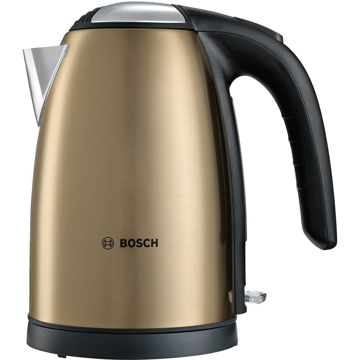 Bosch TWK 7808, Gold чайникTWK7808Bosch TWK 7808 - компактный и надежный электрический чайник со скрытым нагревательным элементом из нержавеющей стали. Прибор оснащен съемным фильтром от накипи, что позволяет существенно продлить срок его использования. Цоколь с поворотом на 360° имеет центральный контакт. Также удобство в использовании обеспечивают функция автовыключения и защита от перегрева.